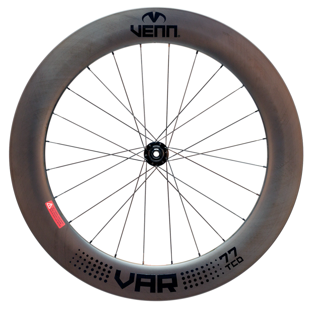Venn Var 77 TCD filament wound tubeless clincher disc brake bike deep section 77mm carbon wheels