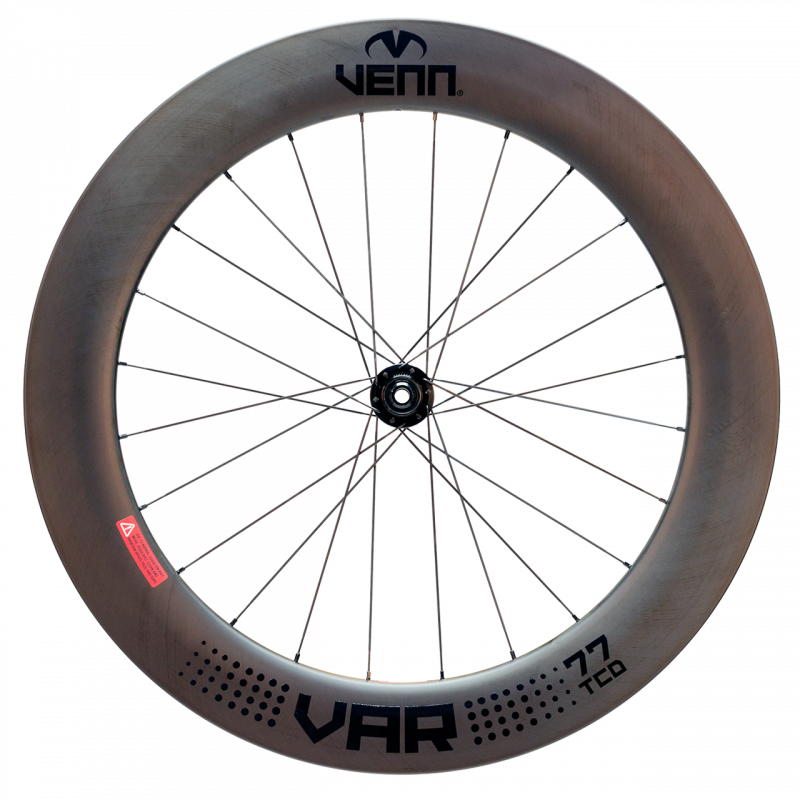 Venn Var 77 TCD filament wound tubeless clincher disc brake bike deep section 77mm carbon wheels