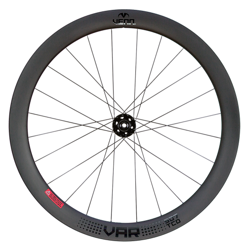Venn VAR 507 TCD front tubeless compatible clincher filament wound carbon wheels