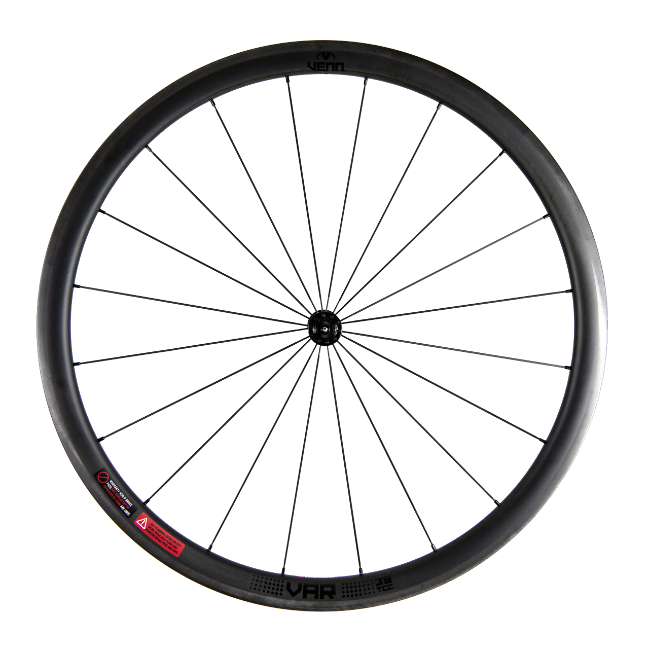 Venn VAR 35 TCC filament wound tubeless compatible rim brake carbon wheelset